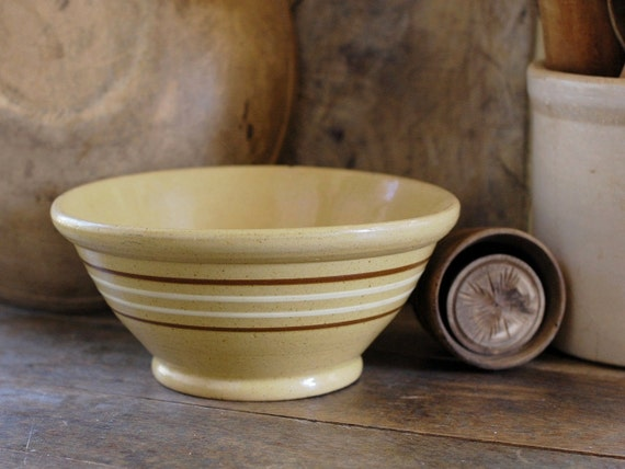 "Antique Yellow Ware Bowl with White and Mocha Brown Stripes - 10"" Size"