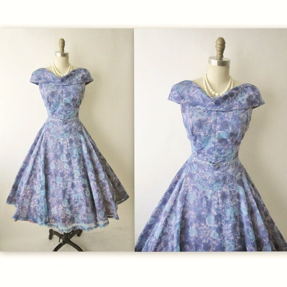 50's Floral Dress // Vintage 1950's Floral Print Chiffon Garden Party Mad Men Cocktail Dress L XL