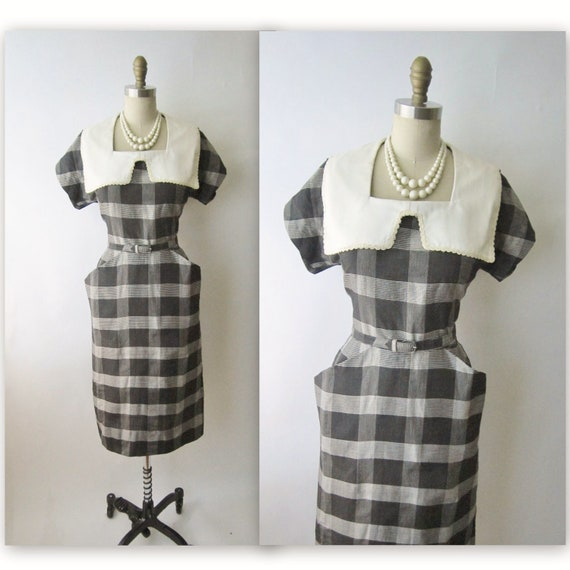 50's Secretary Dress // Vintage 1950's Plaid Cotton Fitted Shirtwaist Casual Wiggle Dress L