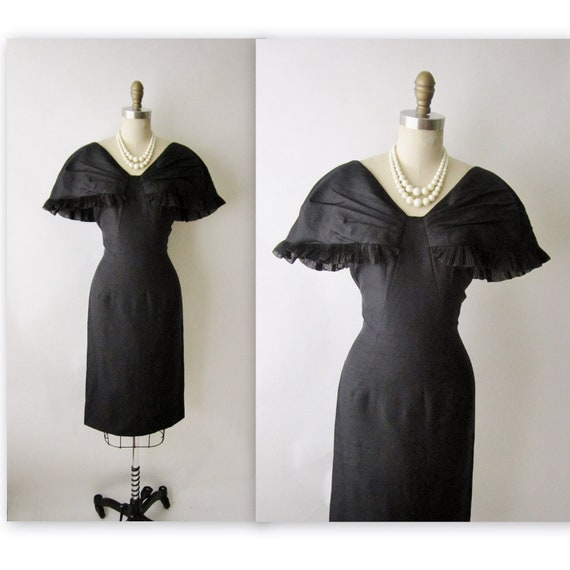 50's Cocktail Dress //  Vintage 1950's Black Hourglass Fitted Cocktail Party Wiggle Dress M