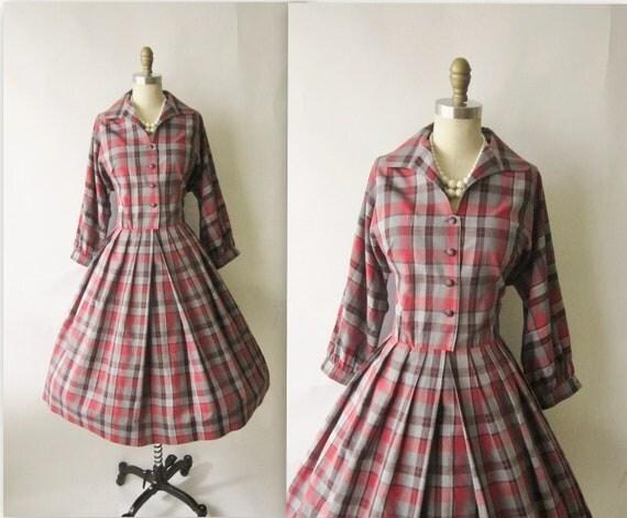 50's Plaid Dress // Vintage 1960's Plaid Cotton Shirtwaist Casual Dress L