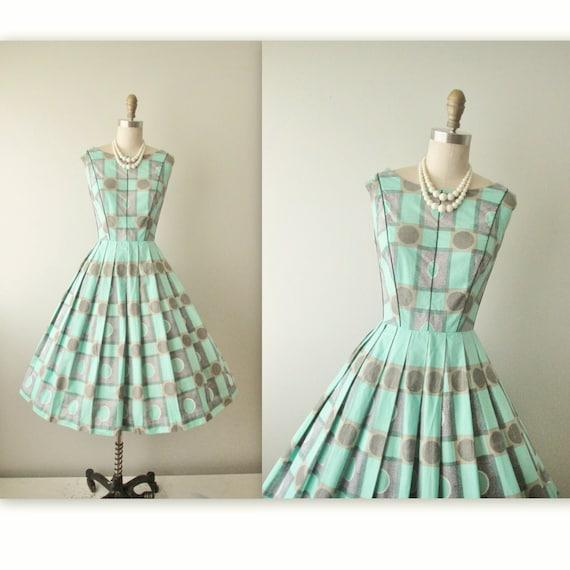 Vintage 50's Dress // Vintage 50s Mid Century Op Art Print Cotton Garden Party Summer Day Dress S M