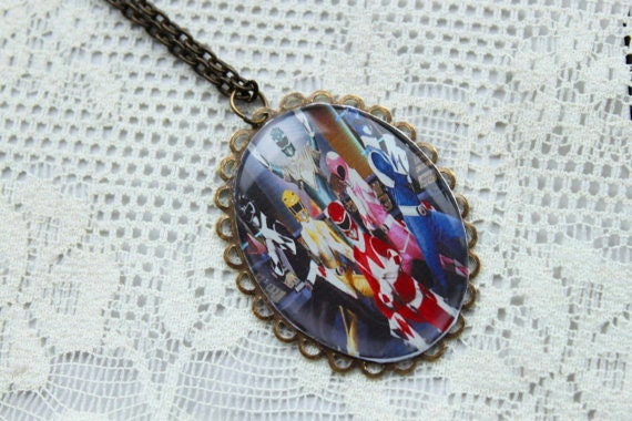 Power Rangers Necklace - Mighty Morphin Power Rangers - 90s Nostalgia Necklace