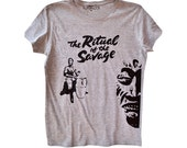 Women's grey T-shirt with black vinyl print. The Ritual of the Savage collection