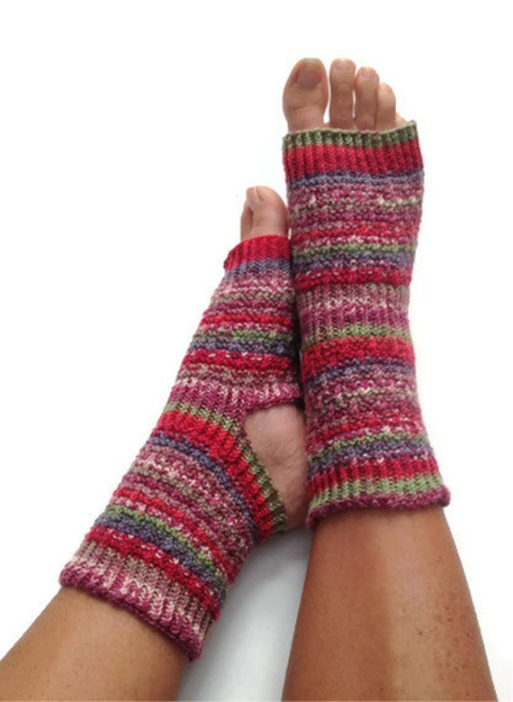 Yoga Socks in Berry Bliss Handknit Pedicure Pilates Dance Gear
