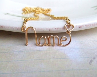 Personalized Name Necklace, Custom Name Necklace, Personalized Jewelry, Name Jewelry, Gold, Copper,  Silver Jewelry Name Gifts Under 25