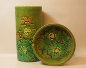 2 pc Vintage MidCentury Italian Pottery VASE and ASHTRAY Green with Sgrafitto Flowers Raymor Bitossi Style 1960s