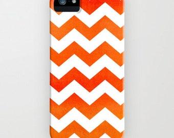 Geometric Phone Case - Orange Chevron Tribal Abstract Watercolor Art - Designer iPhone Samsung Case