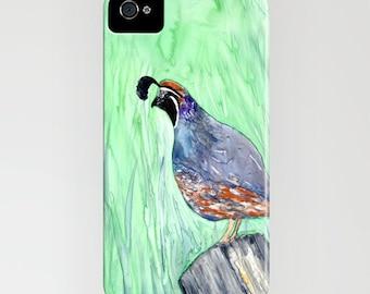 iphone case valley quail bird painting california quail designer iphone samsung case