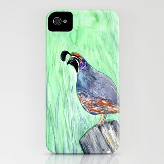 iPhone Case Valley Quail Bird Painting - California Quail - Designer iPhone Samsung Case