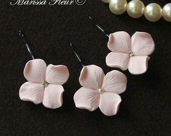 Bridal Hair Pins - Set Of 6 Powder Pink Hydrangea Hair Pins, Blush Pink Bridal Hair Pins  Bridal Hair Accessories, Wedding Accessories