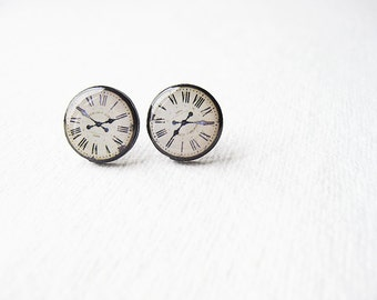 Vintage Clock  - Clock Face - Stud Earrings