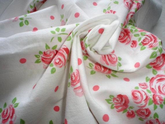 Vintage Canon Bed Sheet Roses Fabric Destash Linen Cotton Twin