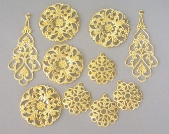 10 filigree components, gold plated filigree sampler