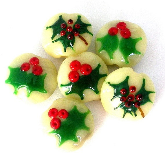 4 Christmas holly beads, mistletoe, red and green, holiday lampwork glass beads