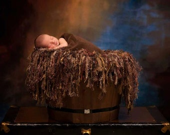 Solid Brown Fringe Baby Blanket and Hammock Sling Photo Prop Chocolate Brown Photography Prop
