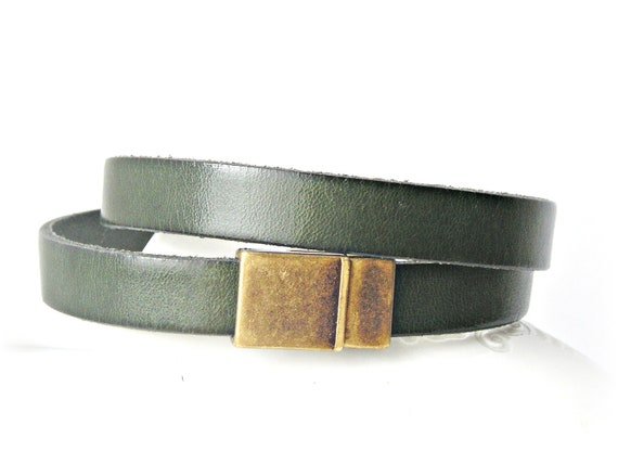 Dark green leather bracelet double wrapped with magnetic clasp
