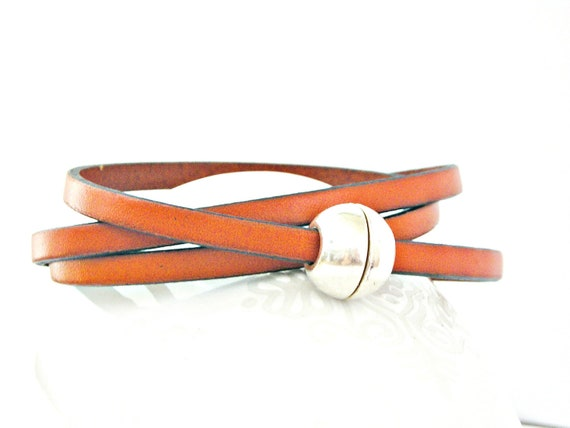 Orange triple wrapped leather bracelet with ball magnetic clasp