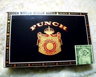 Cigar Box for crafting, purses, supplies  - PUNCH - Large size box - Black