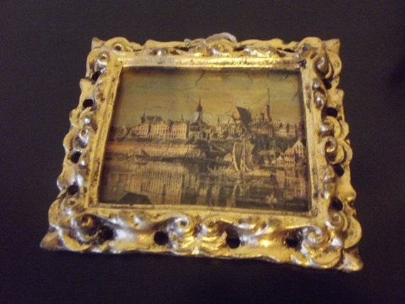 Gold Frame with City Scape Picture Made in Italy