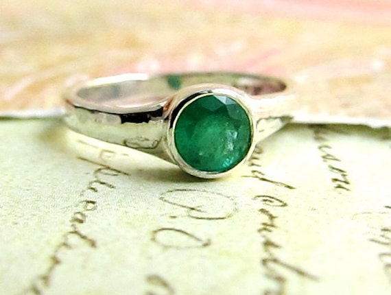 Emerald Engagement Ring, 4mm AAA Natural Gemstone in Sterling Silver Bezel Setting, Bridal, Wedding Band, Anniversary or Luxury Gift