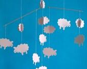 Cute cardboard sheep and clouds nursery mobile