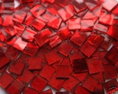 100 Apple Red Mirror Handcut  Mosaic Glass Tiles 1/2 inch art craft hobby