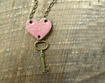 Key to My Heart Necklace- Peach Pink