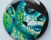 25 PERCENT OFF 2.25 inch Pocket Mirror - Dia De Los Muertos Green Blue Sugar Skull Girl - Do You Remember