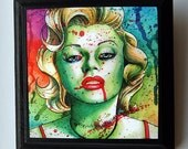 5x5 in Art Block Plaque - Ready to Hang Art Print Mounted on Wood - Marilyn Monroe Zombie Doll