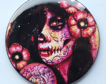 2.25 inch Pocket Mirror - Dia De Los Muertos Sugar Skull Girl - I'll Never Forget