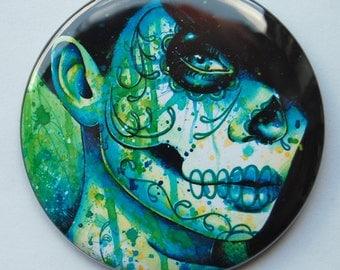 2.25 inch Pocket Mirror - Dia De Los Muertos Green Blue Sugar Skull Girl - Do You Remember