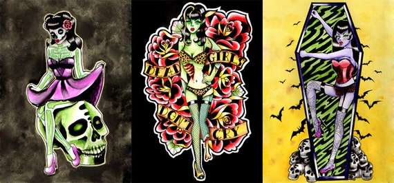 10 PERCENT OFF Set of Three Signed Art Prints - 5x7, 8x10, or 11x14 in - Pin Up Ghouls Set - Zombie Vampire Skeleton Pin Up Girl Tattoo Flas