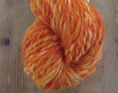 PUMPKIN PATCH Handspun 2 Ply Skein Polwarth Wool Yarn Variegated Orange 135 YDS