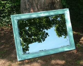 Shabby Chic Mirror,  Large Mirror, Shown in Distressed Aqua or Choose Color , Bathroom mirror, Size, 42 x 30, Seaside Beach Cottage Decor