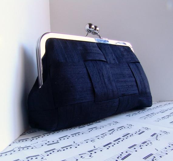 Black clutch, woven silk clutch, Evening bag clutch, Formal purse