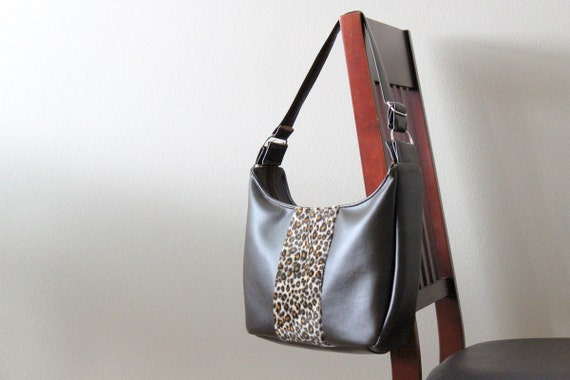 Shoulder Bag in Brown Faux Leather Bag with Animal Print