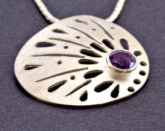 Amethyst Jewelry, Amethyst Sterling Silver Necklace, Purple Amethyst Necklace, Unique Pendant Gift For Graduation, Silver Lace Necklace