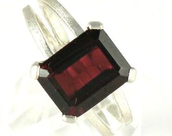 Garnet Engagement Ring, Split Band Emerald Cut Silver Ring January Birthstone, Garnet Sterling Silver Ring, Garnet Jewelry - MADE TO ORDER