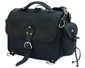 Leather Satchel Messenger Bag, Purse SMALL - Charcoal Black  Distressed, Rugged