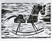 Block print rocking horse 7x5 black original linocut child's baby nursery wall decor sfa primitive art