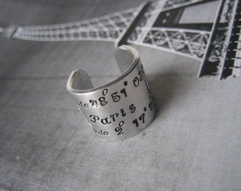 Extra Wide Ring Band - Latitude and Longitude Paris Eiffel Tower - Hand Stamped  Aluminim Ring Band - Paris Jewelry - Paris Lover