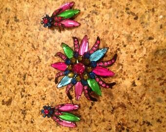 Sale Unsigned Selro Vintage Rhinestone Antique Multicolored Set Pin Brooch