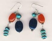 Turquoise, Carnelian and Apatite Earrings