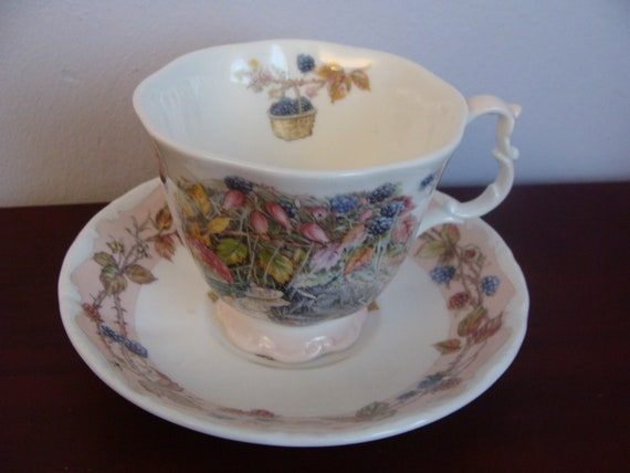 Brambly Hedge Autumn tea Cup and Saucer 1983 Royal Doulton - Jill Backler - Full size set Bone China