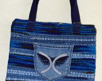 Shoulder purse, handwoven tote, denim bag, denim tote bag