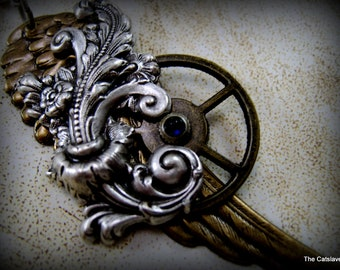 Steam Punk Wing Necklace, Gear, Flourish, Sapphire Watch Crown
