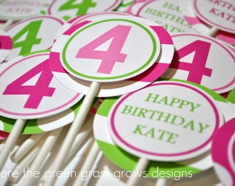 Bright Pink and Green Party Cupcake Toppers
