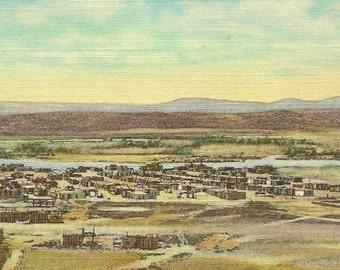Pueblo of Santo Domingo New Mexico Fred Harvey Vintage Linen Postcard