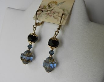 Sapphire Blue Vintage Cut Cathedral Picasso Glass Beaded Earrings